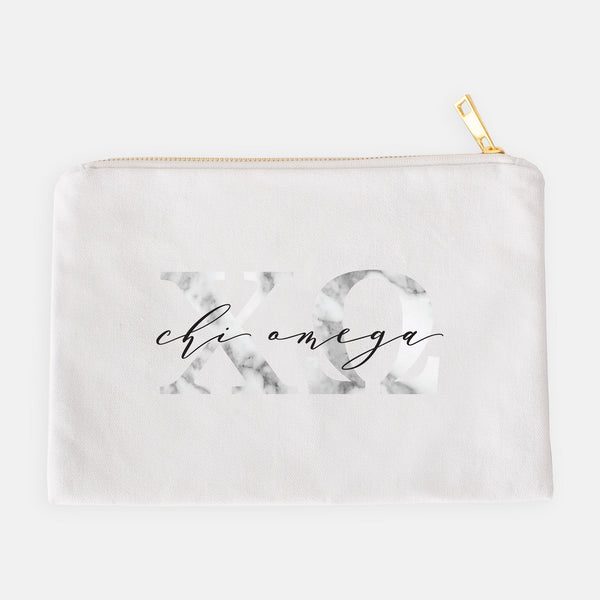 Chi Omega Marble Cosmetic Bag