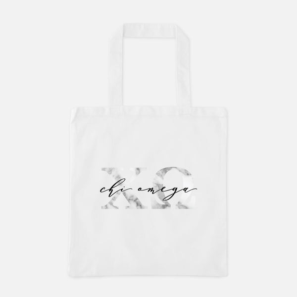 Chi Omega Marble Greek Letters Tote