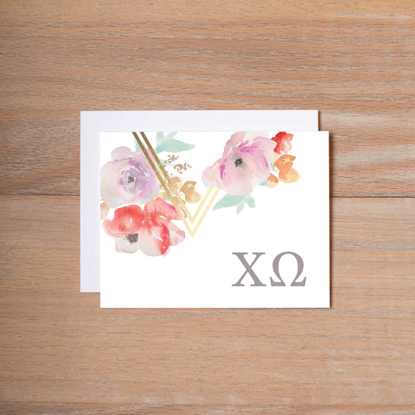 Chi Omega Geometric Bouquet Sorority Note Cards