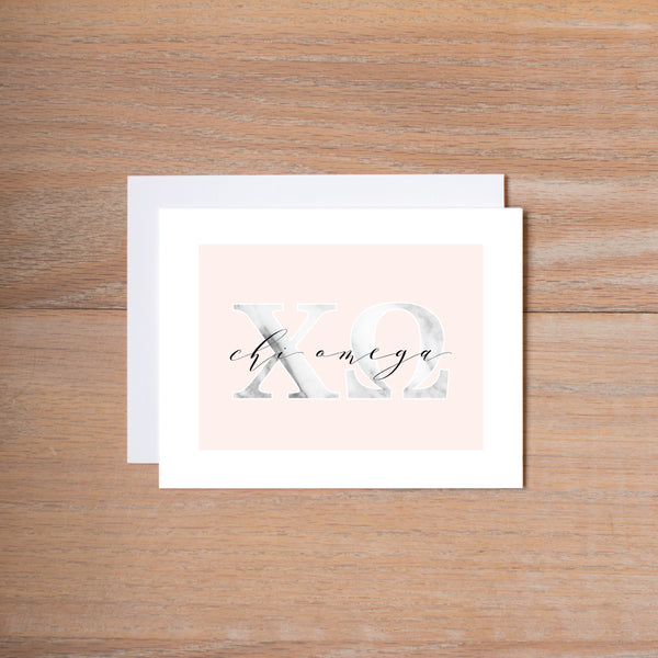 Chi Omega Sorority Note Cards in Marble and Blush