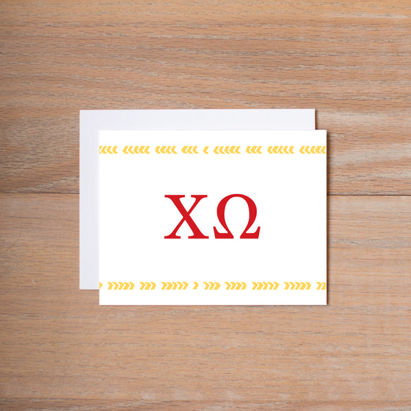 Chi Omega Boho Sorority Note Cards