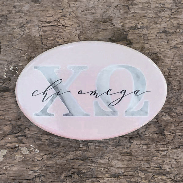 Chi Omega Marble & Blush Greek Buttons