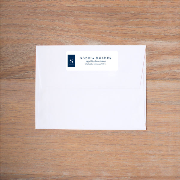 Chic Initial return (home) address label shown in Night