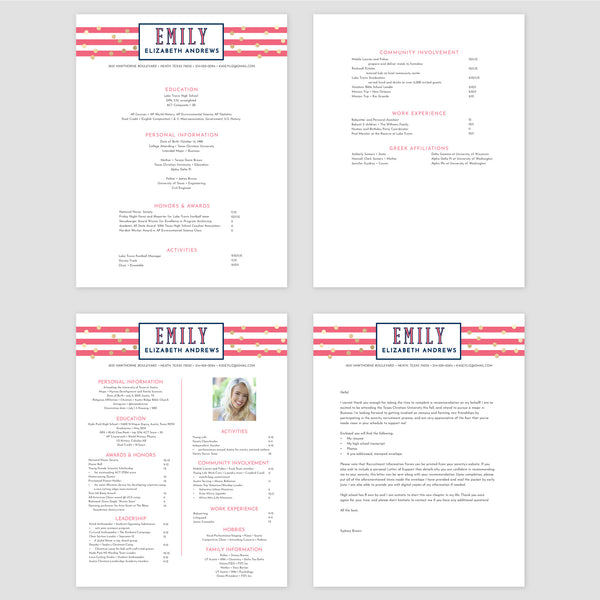 From top left (clockwise) 1st page of multi-page resume, 2nd page of multi-page resume, Single-page resume, Cover letter