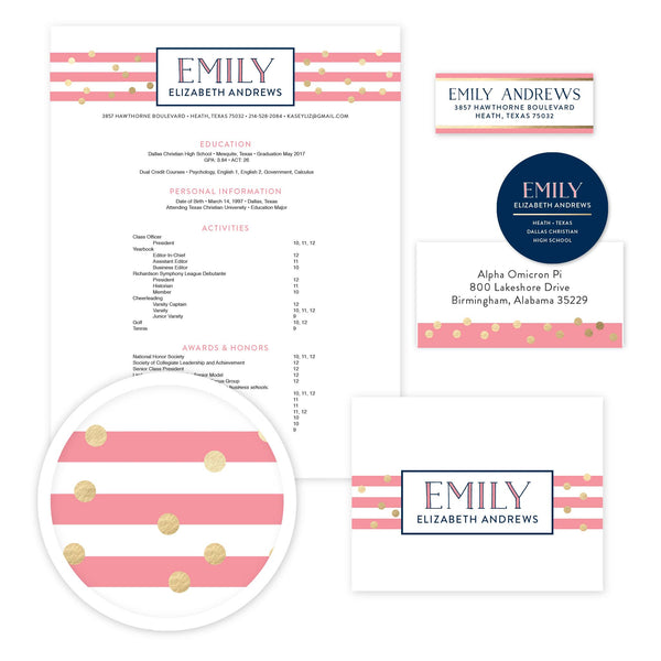 Confetti Stripes Sorority Packet shown in Night & Flamingo