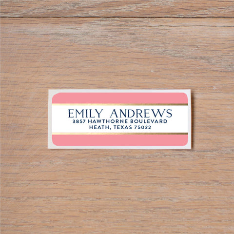 Confetti Stripes Return (Home) Address Label shown in Night & Flamingo