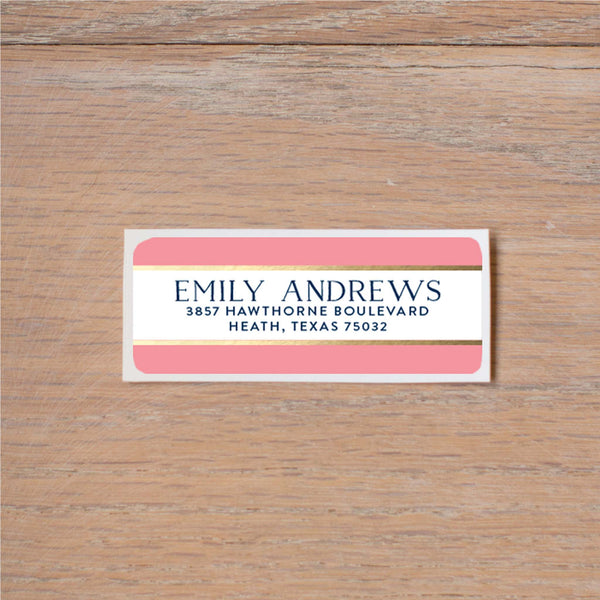 Confetti Stripes return (home) address label