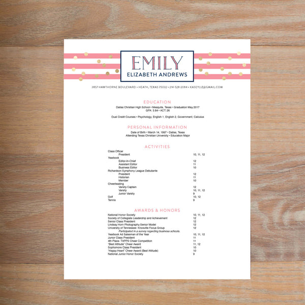 Confetti Stripes Fully-Formatted Sorority Resume shown in Night & Flamingo