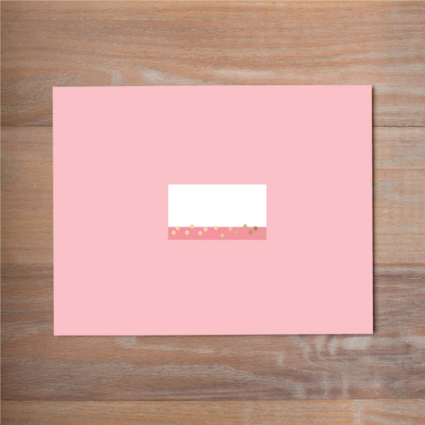 Confetti Stripes mailing label shown on Blossom presentation envelope (not included in price but available as an add-on to your purchase)