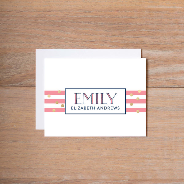 Confetti Stripes personal note card (if you choose to print with us, you will also receive envelopes with your note cards)