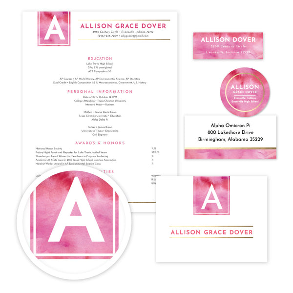 Modern Watercolor Sorority Packet