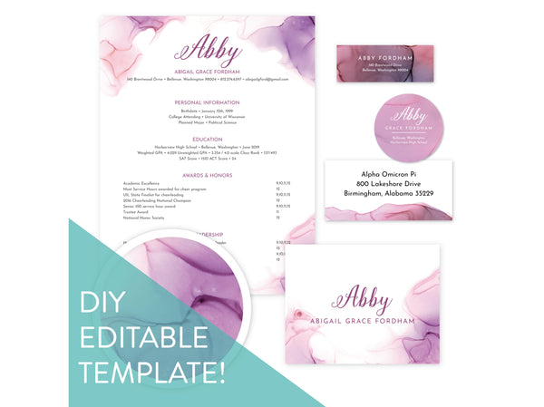 Digital DIY Lilac Wash sorority packet