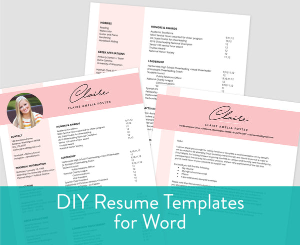 Color Block Blossom Word Templates