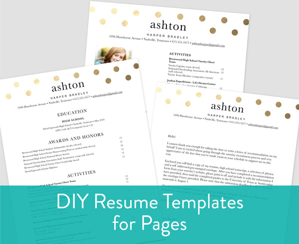 Golden Dots Pages for Mac Resume Templates