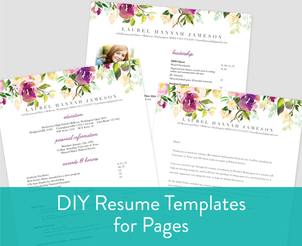 Graceful Bouquet Pages for Mac Resume Templates