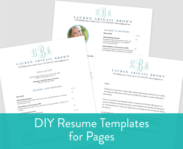 Lattice Monogram Pages for Mac Resume Templates