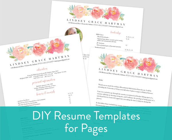 Peony Garden Pages for Mac Resume Templates