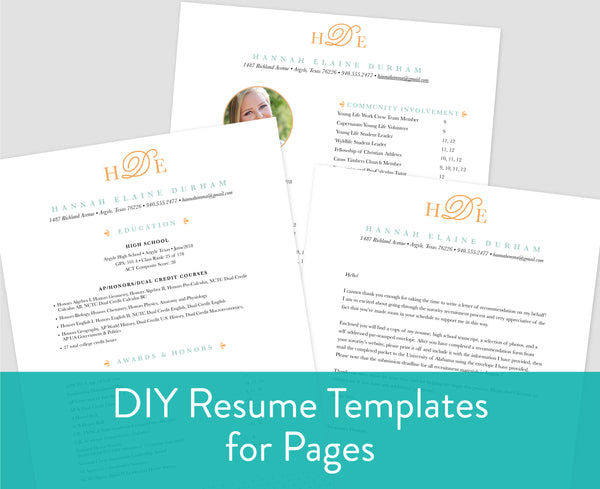 Sweet Monogram Pages for Mac Resume Templates