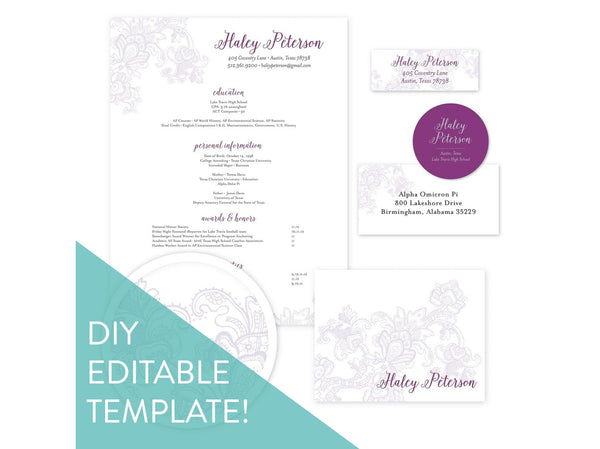 Digital DIY Delicate Lace sorority packet