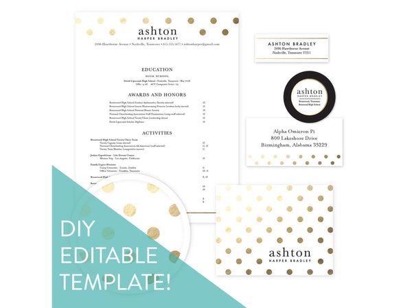 Digital DIY Golden Dots sorority packet