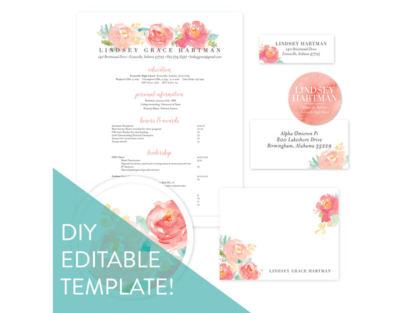 Digital DIY Peony Garden sorority packet