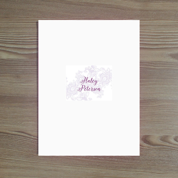 Delicate Lace Personalized Folder Sticker shown in Grape & Plum