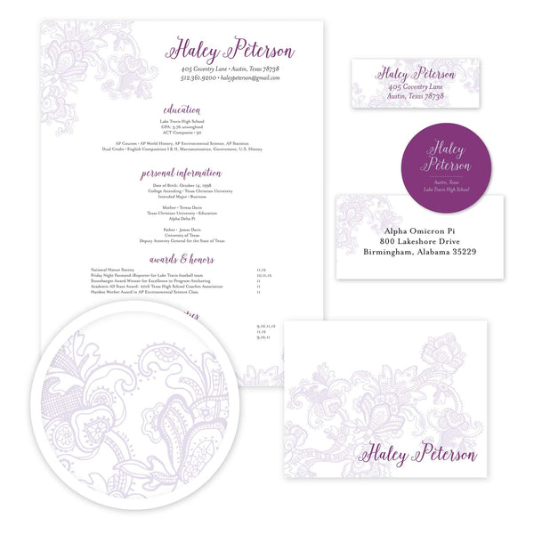 Delicate Lace Sorority Packet shown in Grape & Plum
