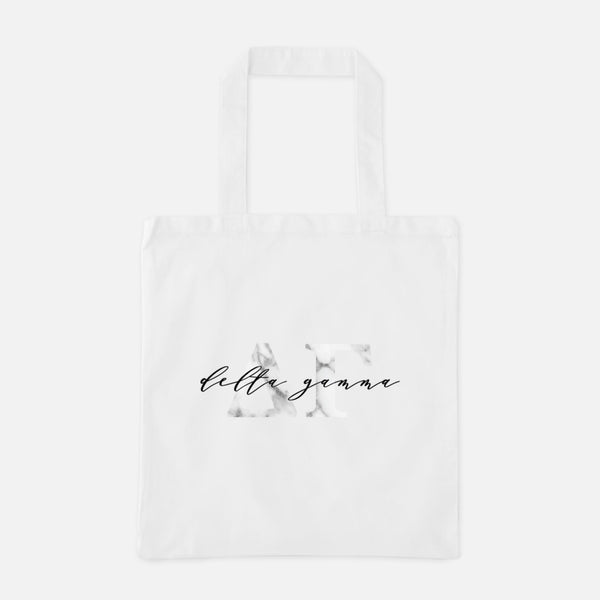 Delta Gamma Marble Greek Letters Tote