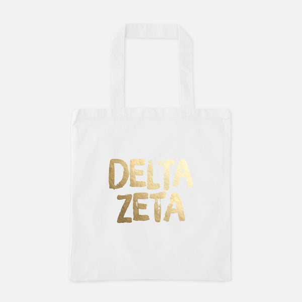 Delta Zeta Gold Foil Greek Tote
