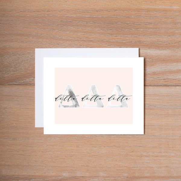 Delta Delta Delta Sorority Note Cards in Marble and Blush