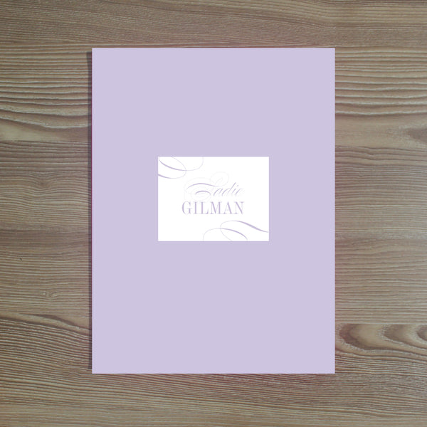Elegant Script folder sticker shown in Plum on Plum pocket folder