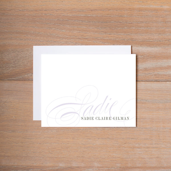 Elegant Script Folded Note Card shown in Plum