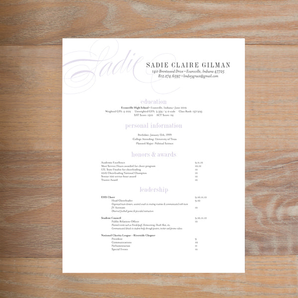 Elegant Script social resume letterhead with full formatting shown in Plum