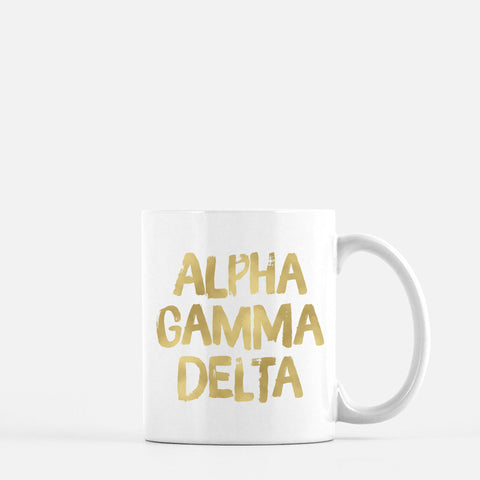 Alpha Chi Omega Gold Foil Sorority Mug