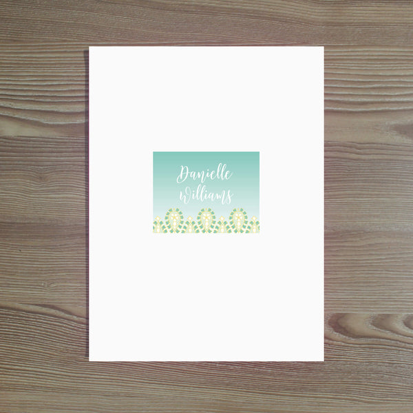 Fresh Paisley Personalized Folder Sticker shown in Sea Glass