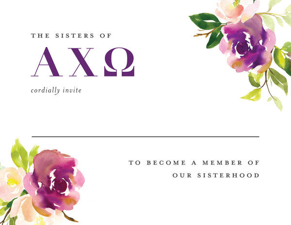 Alpha Chi Omega Graceful Bouquet Bid Card