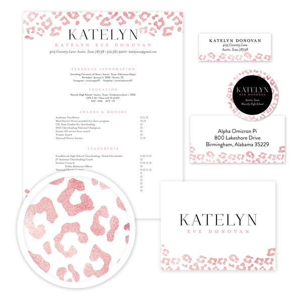 Cheetah Glimmer Complete Sorority Packet