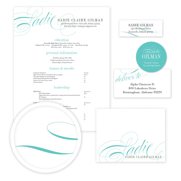 Elegant Script Sorority Packet shown in Teal