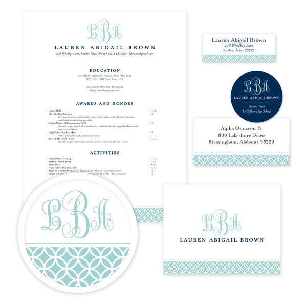 Lattice Monogram Sorority Packet shown in Pool & Night