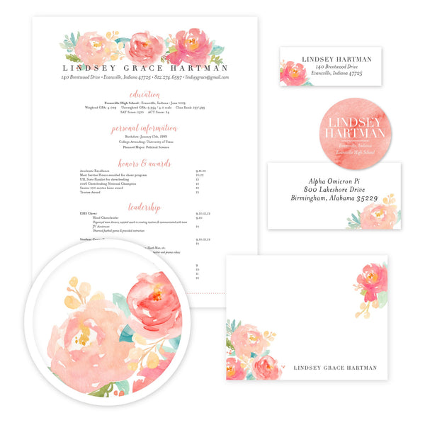 Peony Garden Sorority Packet shown in Blossom