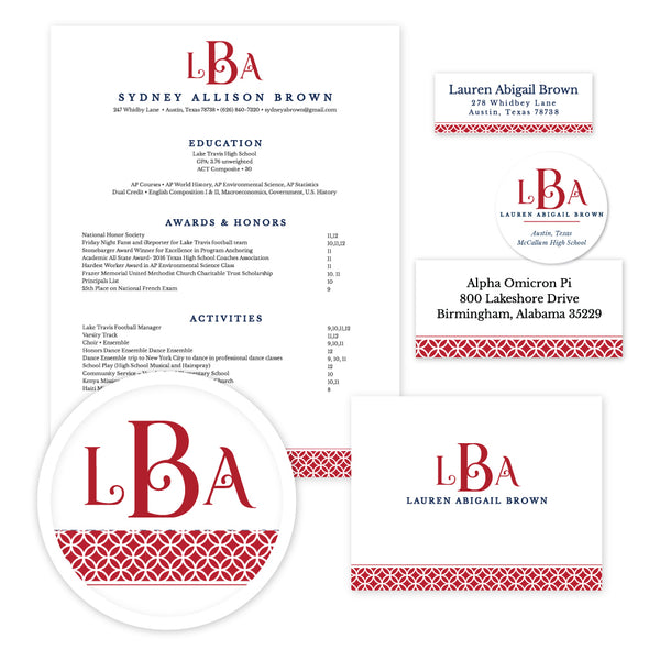 Red Lattice Monogram Sorority Packet shown in Red & Night
