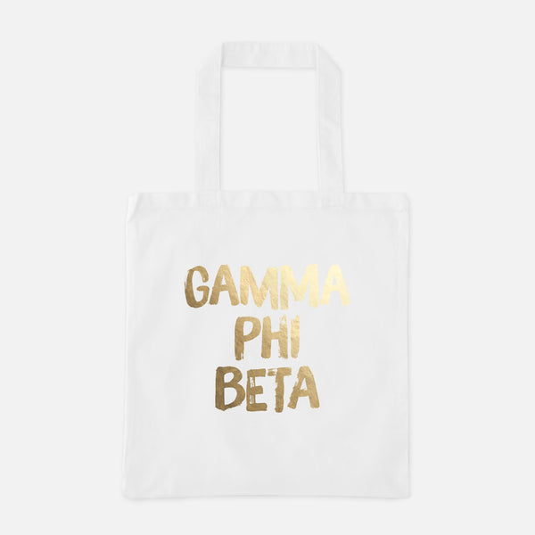 Gamma Phi Beta Gold Foil Greek Tote