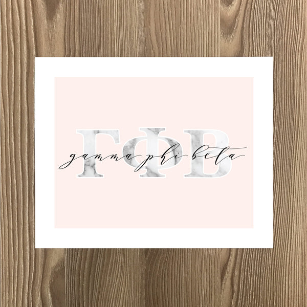 Gamma Phi Beta Marble & Blush Sorority Note Cards