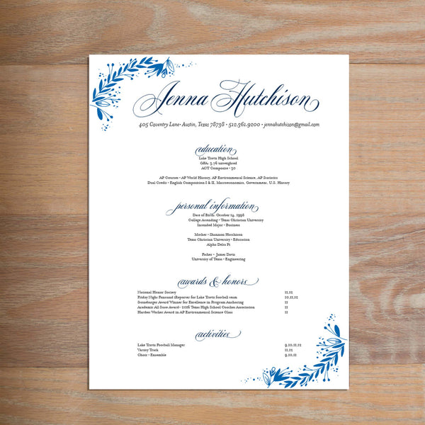 Garden Branches social resume letterhead with full formatting shown in Cobalt