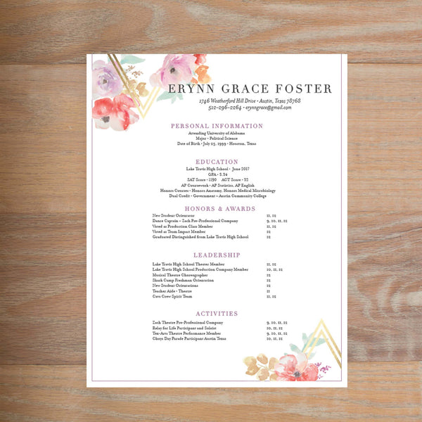 Geometric Bouquet social resume letterhead with full formatting