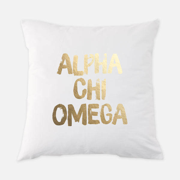 Alpha Chi Omega Gold Foil Sorority Pillow