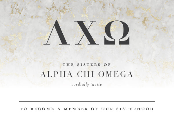Alpha Chi Omega Golden Marble Bid Card