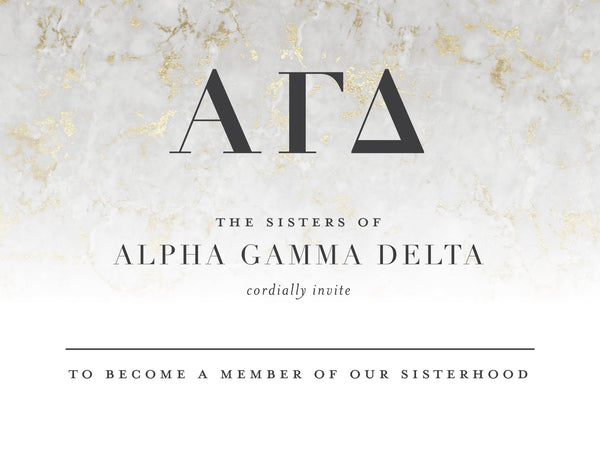 Alpha Gamma Delta Golden Marble Bid Card