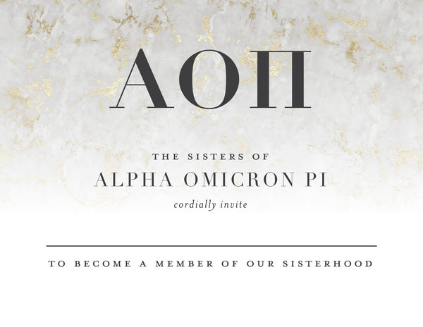 Alpha Omicron Pi Golden Marble Bid Card