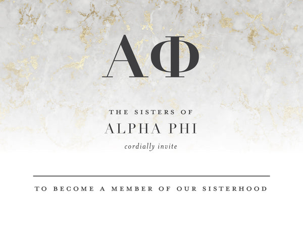 Alpha Phi Golden Marble Bid Card